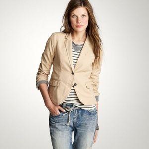 J.CREW Schoolboy Jacket Blazer Tan Cotton Silk